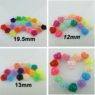 50/30X 12/13/19mm Charm Findings Plastic Acrylic Candy Color Flower Spacer Beads
