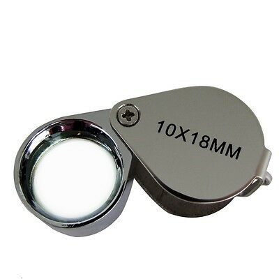 10x Pocket Folding Jewelers Hand Loupe 10x18 mm Silver Gold Jewelry Magnifier