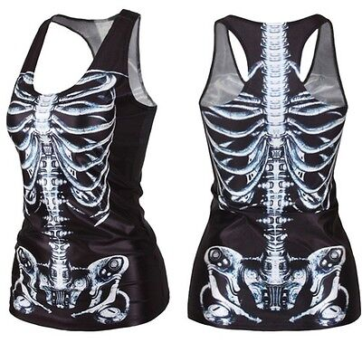Skeleton X-ray Graphic Print Blouses Gothic Top Vest Tank Yoga Fitness GYM BX01K