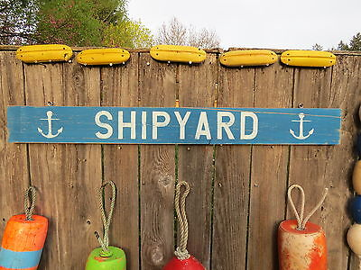 48 Inch Wood Hand Painted Shipyard & Anchor Sign Nautical Seafood (#s615)