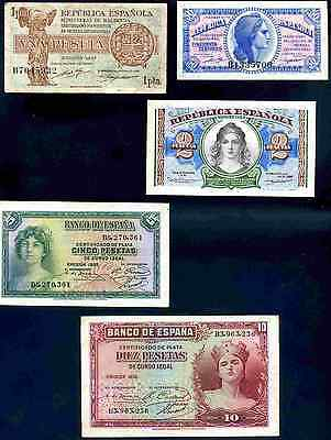 Spain. Five Notes, 1935-38, inc 50 Centesimos B1335700.