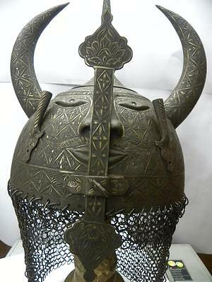 Antique Indo Persian Islamic Warrior Khula Khud Horn Helmet Demon Devil Face
