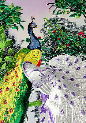 "20"" Brocaded Chinese Traditional Silk Embroidery Painting: Peacock ="