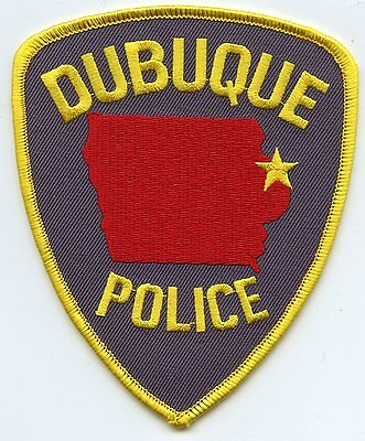 old vintage DUBUQUE IOWA IA state outline POLICE PATCH