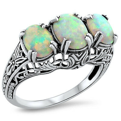 White Lab Opal 925 Sterling Silver Art Deco Antique Design Ring Sz 8.25,    #214