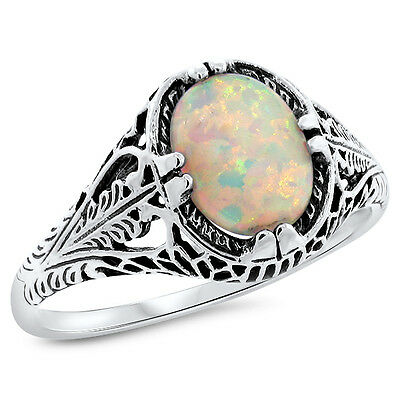 White Lab Opal Antique Filigree Design 925 Sterling Silver Ring Sz 6.75,#682