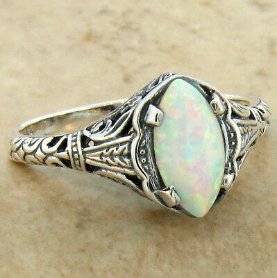 White Lab Opal 925 Sterling Silver Antique Filigree Design Ring Sz 10,#630