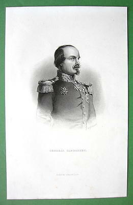 GENERAL CANROBERT French Marshal - Fine Quality Engraving Print