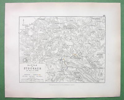 GERMANY Stockach & Environs & Battle of 1799 - 1848 Fine Quality Map