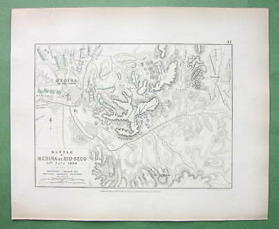 SPAIN Medina Moclin & Environs & Battle of 1808 Napoleon - 1848 Fine Quality Map
