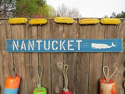48 Inch Wood Hand Painted Nantucket Whale Sign Nautical Seafood (#s620)