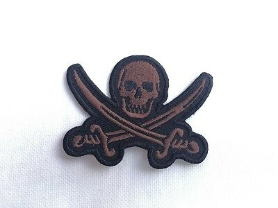 Iron On/ Sew On Embroidered Patch Badge Skull Crossed Sword Rebel Pirate Brown