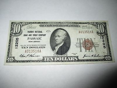 $10 1929 Passaic New Jersey NJ National Currency Bank Note Bill! #12205 XF+