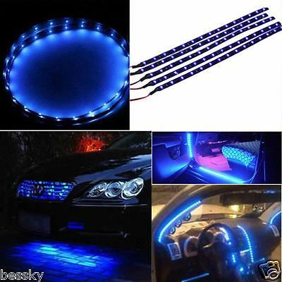 5x 30cm Waterproof 15 Bright Blue LED Car Vehicle Motor Flexible Light Strip 12V