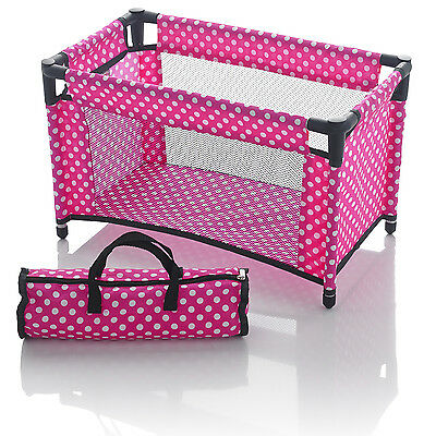 Molly Dolly Dolls Toy Travel Cot Bed Crib & Bedding With Storage Bag Pink Polka