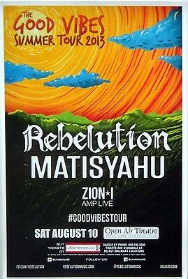 "Rebelution ""Good Vibes Tour 2013"" For San Diego, Salt Lake,Eugene Concert Poster"