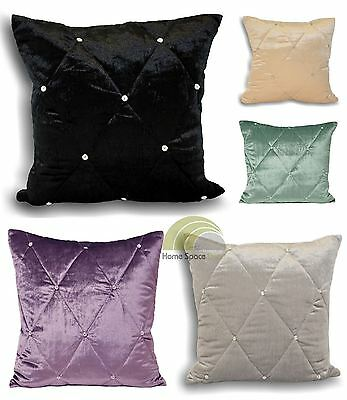 Diamante Cushion Cover Lightly Quilted Velvet Square Scatter Cushion Case New