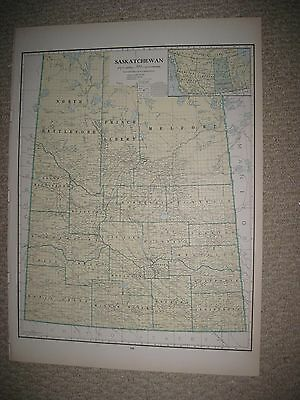 Huge Gorgeous Folio Size Antique 1930 Saskatchewan Regina Canada Map Railroad Nr