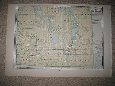 Superb Antique 1930 South Southern Manitoba Winnipeg Railroad Railway Canada Map