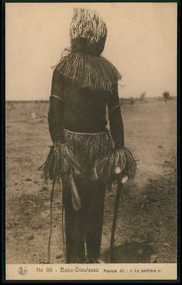 Bobo-Dioulasso panther mask Ethnic black Africa Sorcery Voodoo c1920s postcard