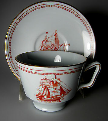 Spode Trade Winds Red (gold trim) Cup & Saucer Set (london shape ...