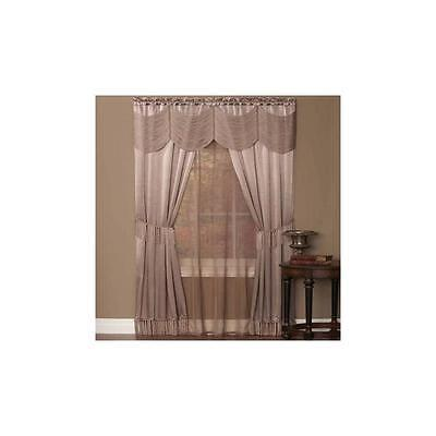 "Achim Home Furnishings Halley 6 Piece Curtain Set 56"" X 84"" Mauve"