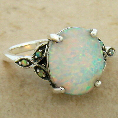 White Lab Opal Antique Victorian Design 925 Sterling Silver Ring Size 10,   #581