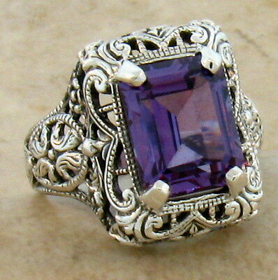 4 Ct LAB ALEXANDRITE ANTIQUE STYLE 925 STERLING SILVER FILIGREE RING Sz 9.75,#33
