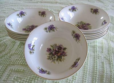 "12 Crown Victorian Staffordshire England Purple Violets 6.5"" Bowls Gold Trimmed"