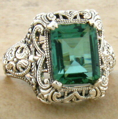 Green Lab Amethyst .925 Sterling Vintage Filigree Design Silver Ring Sz 9,#747