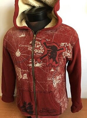 Disney Pirates Of the Caribbean Hoodie Parka Worlds End Sweater Sz L 10-12 Skull