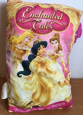 "DISNEY PILLOW BOOK enchanted Tales Pink 13"" Manners Book Princesses"