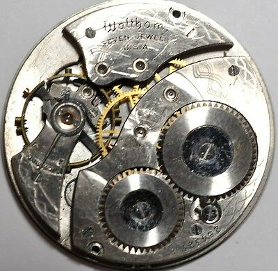 Waltham Art Deco Pocket Watch Movement 7 Jewels For Parts/repairs #w633