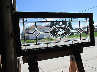3 Piece Set Antique Beveled Etched Glass Transom Windows Architectural Salvage ~