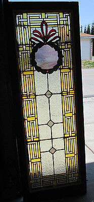 ~ Antique American Stained Glass Window 20 X 56 ~ 2 Of 2 Architectural Salvage ~