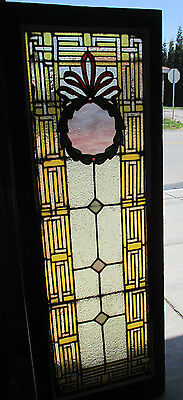 ~ Antique American Stained Glass Window 20 X 56 ~ 1 Of 2 Architectural Salvage ~
