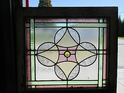 ~ Antique American Stained Glass Window 24 X 25 ~ Architectural Salvage