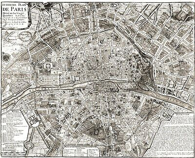 Old PARIS Map LARGE VINTAGE historic FRANCE 1705 OLD ANTIQUE STYLE MAP art print