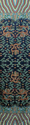 "104"" Tapestry Style Silk Damask Jacquard Brocade Blue China Dragon Robe Fabric ="