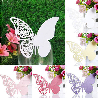 50Pcs Butterfly Shape Place Card Wedding Birthday Party Wine Glass Table Decor