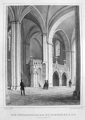 GERMANY Castle Church at Nienburg - 1860 Original Engraving Print
