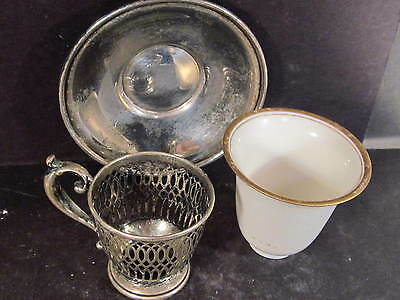 Lenox Frank Whiting Sterling 3PC DEMITASSE OR EGG CUP SET WITH CHINA LINER