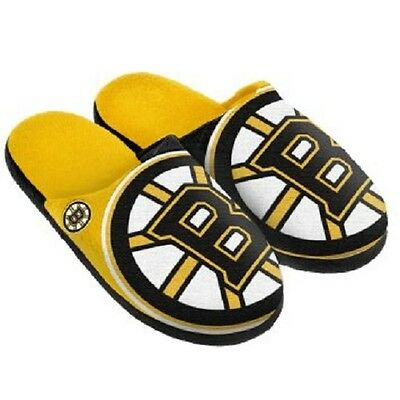 Pair Boston Bruins Big Logo Slippers NEW NHL - Split Color House shoes!