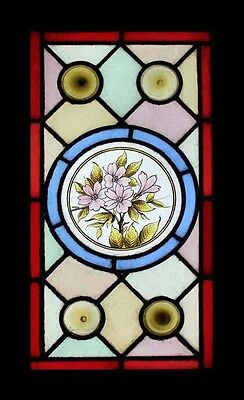 Stunning Antique English Painted Flowers With Rondels Stained Glass Window