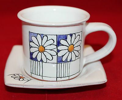 Signed Studio Pottery Hand Painted Espresso Demitasse Mug Cup Saucer Set Daisy