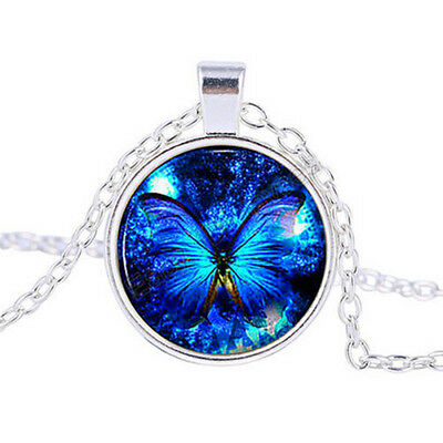 Vintage Retro Blue Cabochon Glass Pendant Silver Chain Necklace Jewelry Gift New