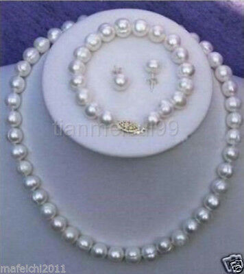 9-10mm Real White Cultured Pearl Necklace Bracelet Earring Set