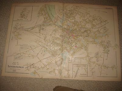Huge Gorgeous Antique 1898 Leominster Worcester County Massachusetts Handclr Map
