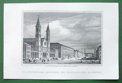 GERMANY Munich Ludwigskirche Church & Library - Antique Print Engraving