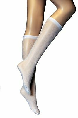 3 Pairs New Girls Womens Occasions White Knee High Patterned Pop Socks P15